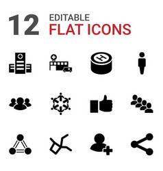 12 social icons vector