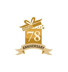 78 years gift box ribbon anniversary vector