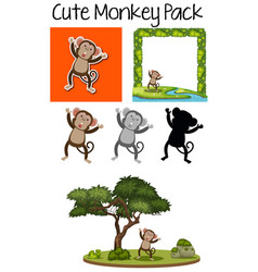 a pack of cute monkey vector image
