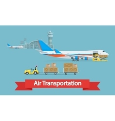 Air cargo transportation concept Flat style vector