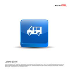 ambulance icon - 3d blue button vector image