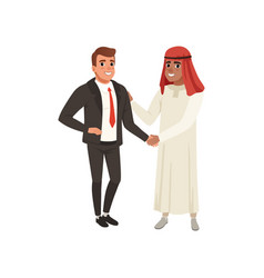 arabic businessman handshaking to his business vector image