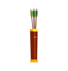 Arrow quiver bow feather design vintage icon vector