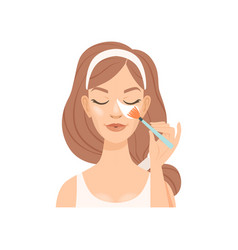 attractive young woman cleaning her face with a vector image