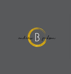 b letter logo design with gold rounded texture vector image