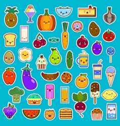 Big set of kawaii character funny cartoon food vector