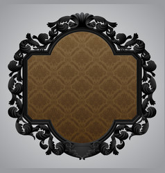 black baroque carved beige frame with a brown vector image vector image