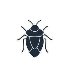 black silhouette a beetle isolated on a white vector image
