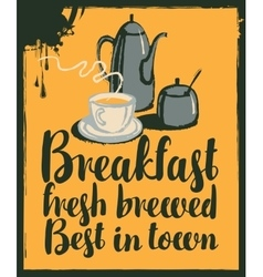 Breakfast with teapot and cup of tea vector