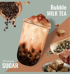 Brown sugar bubble milk tea ad content modern vector