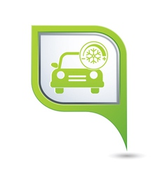 car with air conditioner icon on green pointer vector image