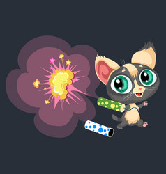 Cartoon sweet little kitty with bright vector