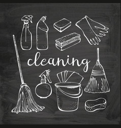 Cleaning service tools set isolated vector