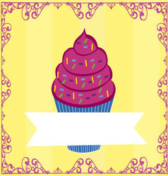 cupcake with flag vector image