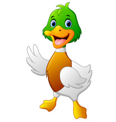 cute baby duck waving hand vector image