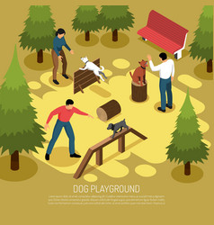 Cynologist playground isometric composition vector