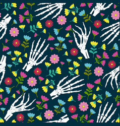day dead skeleton hand and flower seamless vector image