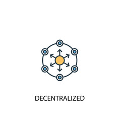 decentralized concept 2 colored line icon simple vector image