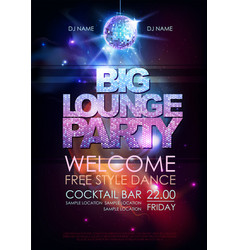 Disco ball background big lounge party vector