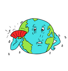 Earth global warming drawing color vector