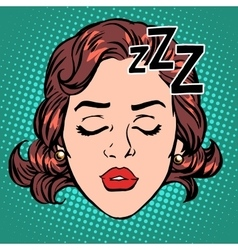 Emoji icon woman face sleep vector