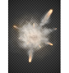 Explosion trail smoke bang isolated on transparent vector