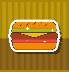 fast food sandwich bread cheese ham vector image