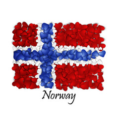 Flag love norway flag heart glossy with love vector