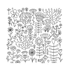 floral meadow sketch for your design vector image