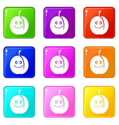Fresh smiling apricot set 9 vector
