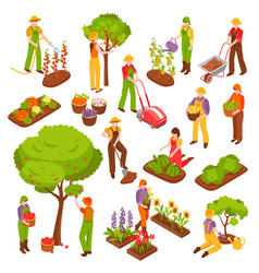 Gardening isometric set vector
