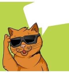 Ginger cat in sunglasses vector image