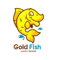 gold fish cartoon emblem vector image