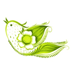 Green bird of with flowers and leaves tea vector