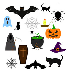 halloween of the set icons color evil vector image