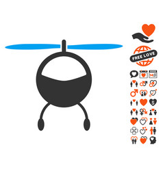 helicopter icon with lovely bonus vector image