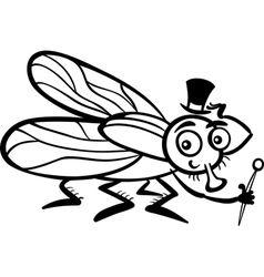 Housefly cartoon for coloring book vector