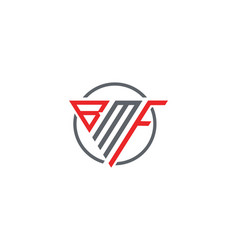 Initial letter bmf triangle monogram modern logo r vector