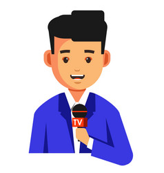 Journalist or news reader with microphone vector