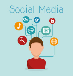 Man with social media icon vector