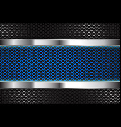 Metal background with blue perforated banner vector