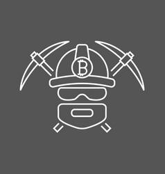 miner bitoins logo mining bitcoin crypto vector image