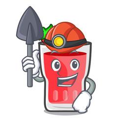 Miner strawberry mojito mascot cartoon vector