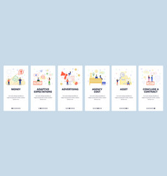 mobile app onboarding screens business deal and vector image