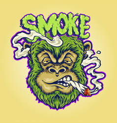 Monkey weed joint smoking a cigarette vector