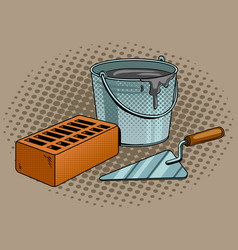 mortar brick trowel pop art vector image