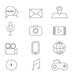 multimedia icons with white background vector image