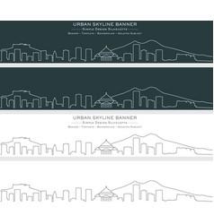 Naples single line skyline banner vector