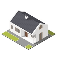 One-storey house with slant roof isometric icon vector