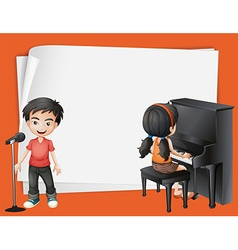 Paper desing with girl playing piano and boy vector image